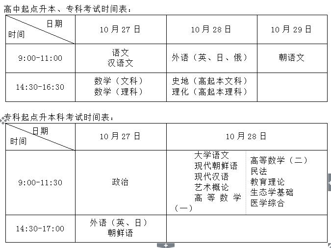 吉林省2018年成人高考考试时间表